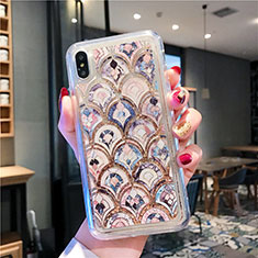 Silikon Schutzhülle Ultra Dünn Tasche Durchsichtig Transparent Blumen T01 für Apple iPhone Xs Plusfarbig