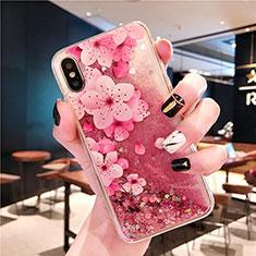 Silikon Schutzhülle Ultra Dünn Tasche Durchsichtig Transparent Blumen T01 für Apple iPhone Xs Rosa