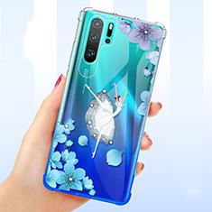 Silikon Schutzhülle Ultra Dünn Tasche Durchsichtig Transparent Blumen T01 für Huawei P30 Pro Blau