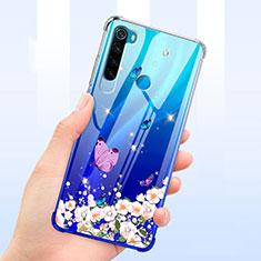 Silikon Schutzhülle Ultra Dünn Tasche Durchsichtig Transparent Blumen T01 für Xiaomi Redmi Note 8T Blau