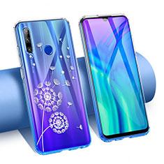 Silikon Schutzhülle Ultra Dünn Tasche Durchsichtig Transparent Blumen T02 für Huawei Honor 20 Lite Blau