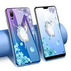 Silikon Schutzhülle Ultra Dünn Tasche Durchsichtig Transparent Blumen T02 für Huawei P20 Pro Blau