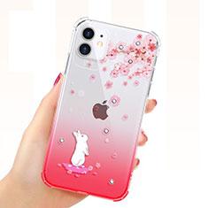 Silikon Schutzhülle Ultra Dünn Tasche Durchsichtig Transparent Blumen T03 für Apple iPhone 11 Rot