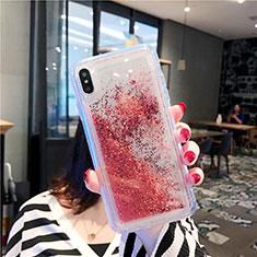Silikon Schutzhülle Ultra Dünn Tasche Durchsichtig Transparent Blumen T03 für Apple iPhone Xs Max Rot