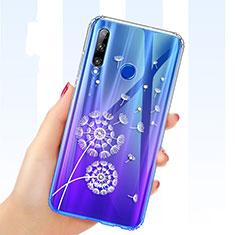 Silikon Schutzhülle Ultra Dünn Tasche Durchsichtig Transparent Blumen T03 für Huawei Honor 20 Lite Blau