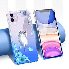 Silikon Schutzhülle Ultra Dünn Tasche Durchsichtig Transparent Blumen T04 für Apple iPhone 11 Blau