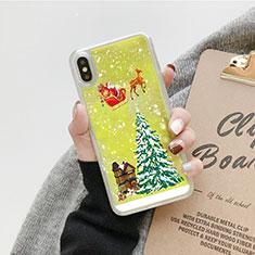 Silikon Schutzhülle Ultra Dünn Tasche Durchsichtig Transparent Blumen T24 für Apple iPhone Xs Max Grün