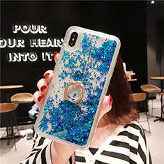 Silikon Schutzhülle Ultra Dünn Tasche Durchsichtig Transparent Blumen T25 für Apple iPhone Xs Max Blau