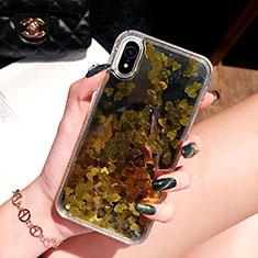 Silikon Schutzhülle Ultra Dünn Tasche Durchsichtig Transparent Blumen T26 für Apple iPhone XR Gold