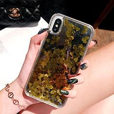 Silikon Schutzhülle Ultra Dünn Tasche Durchsichtig Transparent Blumen T26 für Apple iPhone Xs Gold
