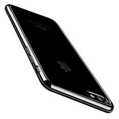 Silikon Schutzhülle Ultra Dünn Tasche Durchsichtig Transparent C01 für Apple iPhone 7 Schwarz