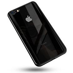 Silikon Schutzhülle Ultra Dünn Tasche Durchsichtig Transparent C02 für Apple iPhone 7 Schwarz