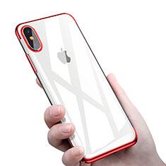 Silikon Schutzhülle Ultra Dünn Tasche Durchsichtig Transparent C16 für Apple iPhone X Rot