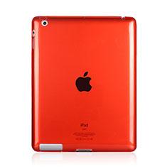 Silikon Schutzhülle Ultra Dünn Tasche Durchsichtig Transparent für Apple iPad 3 Rot