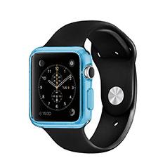 Silikon Schutzhülle Ultra Dünn Tasche Durchsichtig Transparent für Apple iWatch 3 38mm Blau