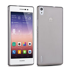 Silikon Schutzhülle Ultra Dünn Tasche Durchsichtig Transparent für Huawei Ascend P7 Grau