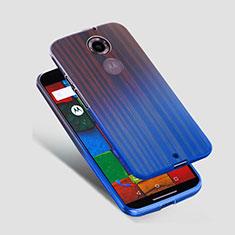 Silikon Schutzhülle Ultra Dünn Tasche Durchsichtig Transparent für Motorola Moto X (2nd Gen) Blau
