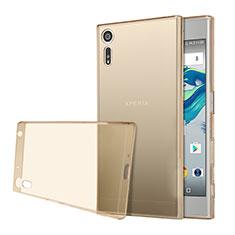 Silikon Schutzhülle Ultra Dünn Tasche Durchsichtig Transparent für Sony Xperia XZs Gold