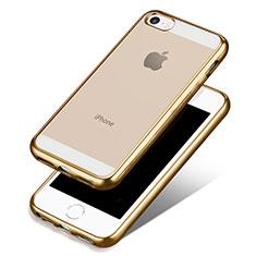 Silikon Schutzhülle Ultra Dünn Tasche Durchsichtig Transparent H01 für Apple iPhone 5 Gold