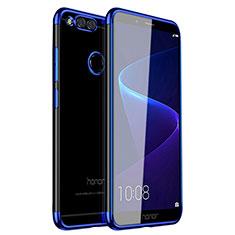 Silikon Schutzhülle Ultra Dünn Tasche Durchsichtig Transparent H01 für Huawei Honor 7X Blau