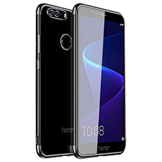 Silikon Schutzhülle Ultra Dünn Tasche Durchsichtig Transparent H01 für Huawei Honor 8 Schwarz