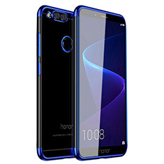Silikon Schutzhülle Ultra Dünn Tasche Durchsichtig Transparent H01 für Huawei Honor Play 7X Blau