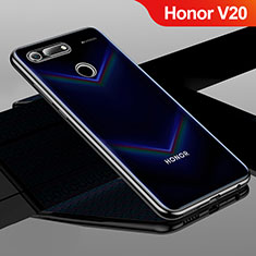 Silikon Schutzhülle Ultra Dünn Tasche Durchsichtig Transparent H01 für Huawei Honor V20 Schwarz
