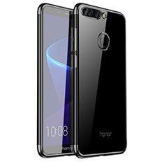 Silikon Schutzhülle Ultra Dünn Tasche Durchsichtig Transparent H01 für Huawei Honor V9 Schwarz