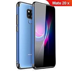 Silikon Schutzhülle Ultra Dünn Tasche Durchsichtig Transparent H01 für Huawei Mate 20 X 5G Schwarz