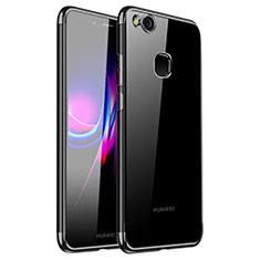 Silikon Schutzhülle Ultra Dünn Tasche Durchsichtig Transparent H01 für Huawei Nova Schwarz