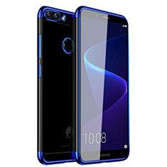 Silikon Schutzhülle Ultra Dünn Tasche Durchsichtig Transparent H01 für Huawei P Smart Blau