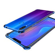 Silikon Schutzhülle Ultra Dünn Tasche Durchsichtig Transparent H01 für Huawei P Smart+ Plus Blau