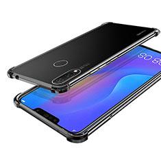 Silikon Schutzhülle Ultra Dünn Tasche Durchsichtig Transparent H01 für Huawei P Smart+ Plus Schwarz