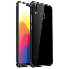 Silikon Schutzhülle Ultra Dünn Tasche Durchsichtig Transparent H01 für Huawei P20 Lite Schwarz