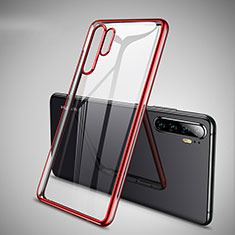 Silikon Schutzhülle Ultra Dünn Tasche Durchsichtig Transparent H01 für Huawei P30 Pro Rot