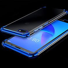 Silikon Schutzhülle Ultra Dünn Tasche Durchsichtig Transparent H01 für Huawei Y5 (2018) Blau