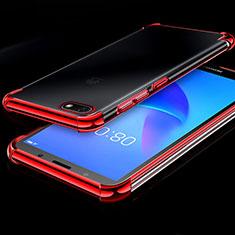 Silikon Schutzhülle Ultra Dünn Tasche Durchsichtig Transparent H01 für Huawei Y5 (2018) Rot