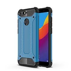 Silikon Schutzhülle Ultra Dünn Tasche Durchsichtig Transparent H01 für Huawei Y6 (2018) Blau