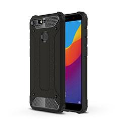 Silikon Schutzhülle Ultra Dünn Tasche Durchsichtig Transparent H01 für Huawei Y6 (2018) Schwarz