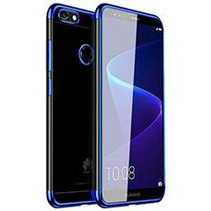 Silikon Schutzhülle Ultra Dünn Tasche Durchsichtig Transparent H01 für Huawei Y6 Pro (2017) Blau