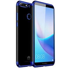 Silikon Schutzhülle Ultra Dünn Tasche Durchsichtig Transparent H01 für Huawei Y7 (2018) Blau