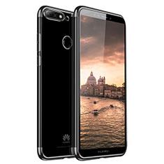 Silikon Schutzhülle Ultra Dünn Tasche Durchsichtig Transparent H01 für Huawei Y7 (2018) Schwarz