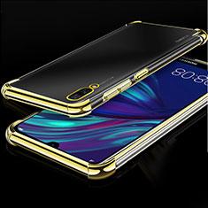 Silikon Schutzhülle Ultra Dünn Tasche Durchsichtig Transparent H01 für Huawei Y7 Prime (2019) Gold