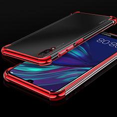 Silikon Schutzhülle Ultra Dünn Tasche Durchsichtig Transparent H01 für Huawei Y7 Prime (2019) Rot