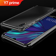 Silikon Schutzhülle Ultra Dünn Tasche Durchsichtig Transparent H01 für Huawei Y7 Prime (2019) Schwarz