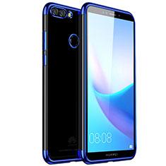 Silikon Schutzhülle Ultra Dünn Tasche Durchsichtig Transparent H01 für Huawei Y9 (2018) Blau