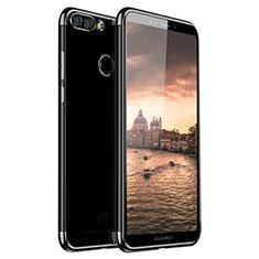 Silikon Schutzhülle Ultra Dünn Tasche Durchsichtig Transparent H01 für Huawei Y9 (2018) Schwarz