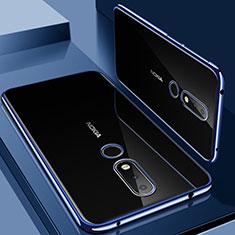 Silikon Schutzhülle Ultra Dünn Tasche Durchsichtig Transparent H01 für Nokia 6.1 Plus Blau