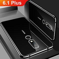 Silikon Schutzhülle Ultra Dünn Tasche Durchsichtig Transparent H01 für Nokia 6.1 Plus Schwarz