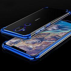 Silikon Schutzhülle Ultra Dünn Tasche Durchsichtig Transparent H01 für Nokia 7.1 Plus Blau
